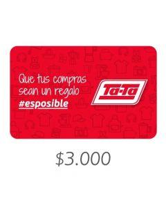 TATA Supermercados - Gift Card Virtual $3000